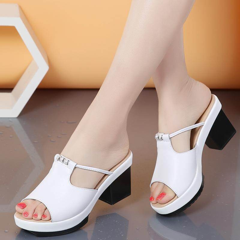 8c7276445995 Water Drill Female Slippers Classic Little Rough Heel High Heel Wedge Sandals  High Quality Women Shoes