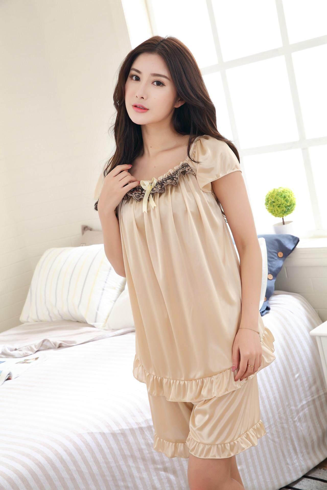 Bolster Store Sexy Lingerie Women Ladies Sleepwear Satin Silk Pajamas Baju Tidur Set of 2 Blouse + Pants
