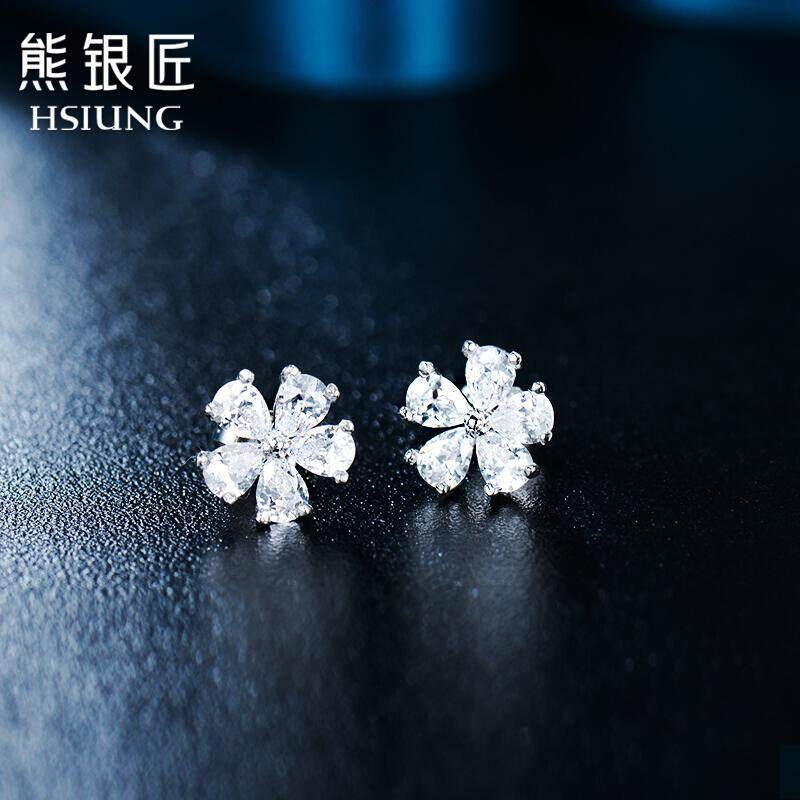 Beruang Silversmith Hsiung Perhiasan Perak S925 Perak Telinga Kuku Wanita Jepang dan Korea Selatan Manis Ceri Anting-Anting Modis Temperamen Anting-Anting hadiah Ceri Telinga Manik-manik () -Internasional