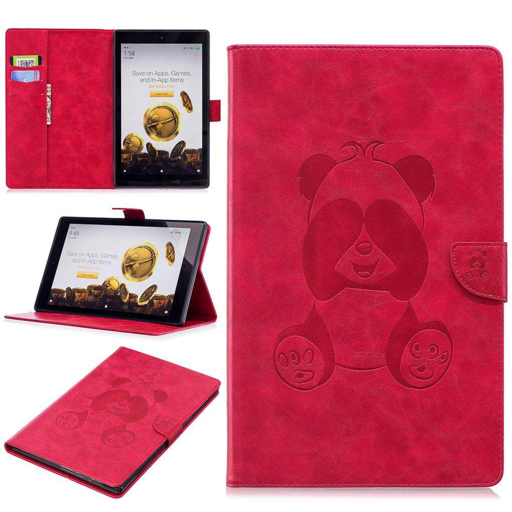 Cute Panda Embossed Pu Leather Flip Magnet Wallet Stand Card Slots Protective Case Cover With Auto Wake Sleep For Amazon Fire Hd 10 2017 And 2015 Release Intl Shopping