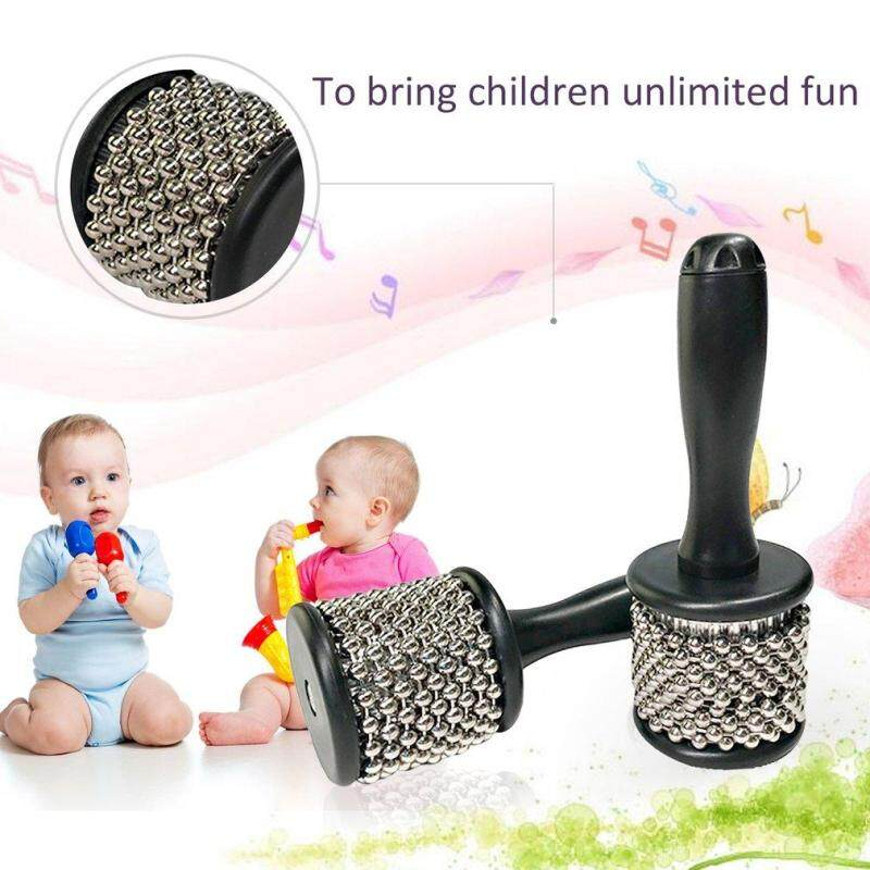 GOFT Orffworld Cabasa with Stainless Steel Beaded Musical Instruments for Kids silver & black