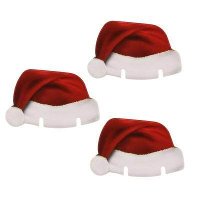 CHRISTMAS CHAMPAGNE WINE GLASS CAP HOLIDAY PARTY DECORATIONS XMAS HAT (RED)