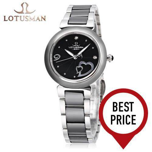 LOTUSMAN DL901TWA WOMEN QUARTZ WATCH WATER RESISTANCE ARTIFICIAL DIAMOND HEART PATTERN DIAL LUMINOUS WRISTWATCH (BLACK)