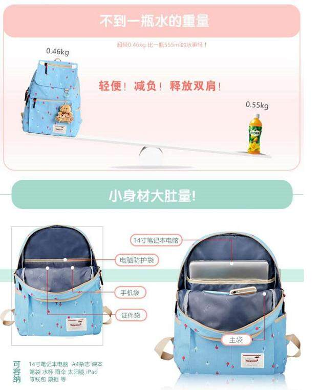 Modern Korea Style Dark Blue Canvas Girls Primary/Secondary/Travel Backpack School Bag