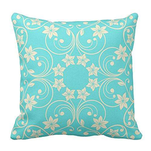 Who Sells Floral Design Aqua Turquoise And Cream Flower Pattern Throw Pillow Case Covers Flower Home Sofa Decorative Square 18X18 Inch Intl The Cheapest