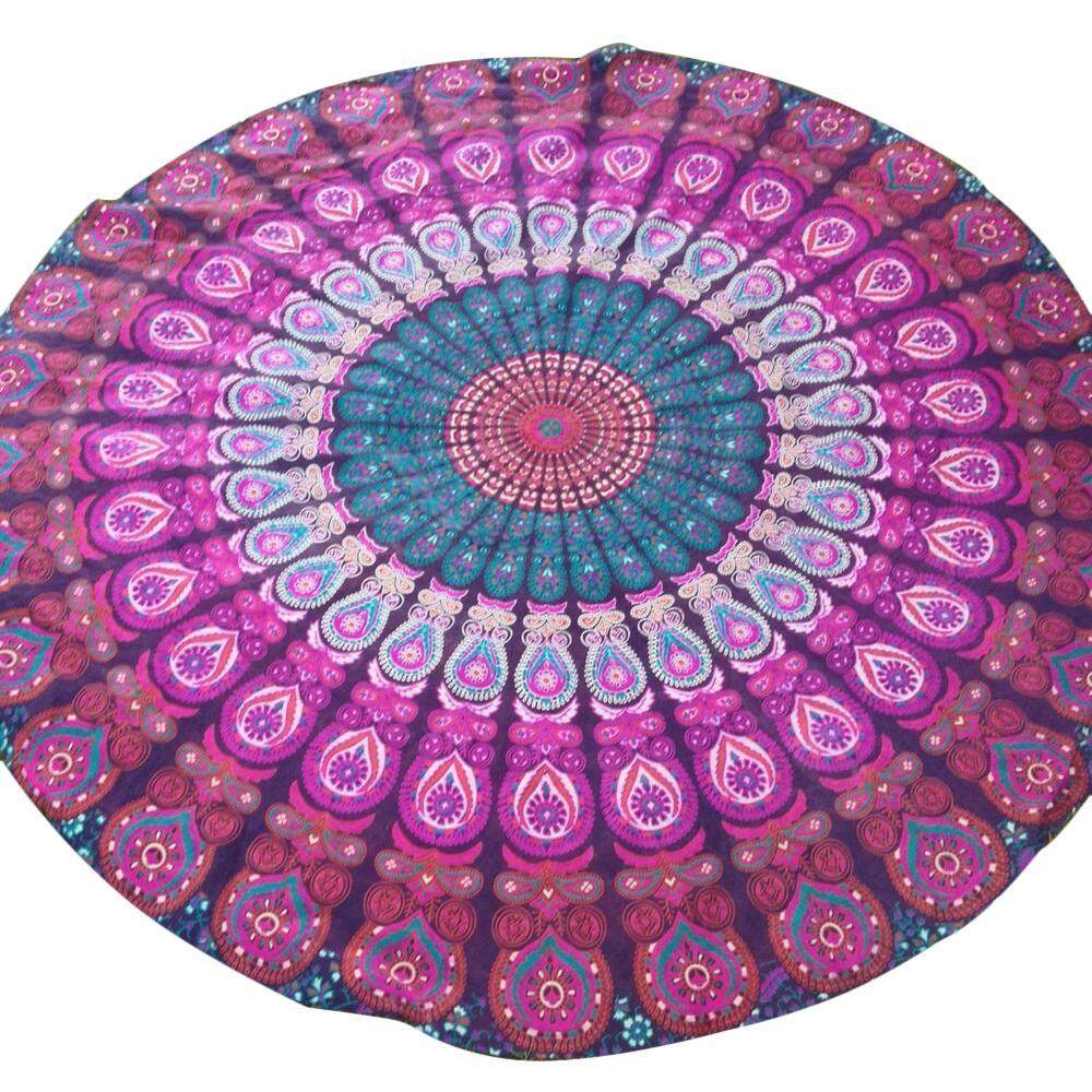 Shentong Peacock Yoga Mat Indian Mandala Roundies Tapestry Tablecloth Vibrant Beach Towel Beach Throw Picnic Mat Table Throw Table Cover - intl