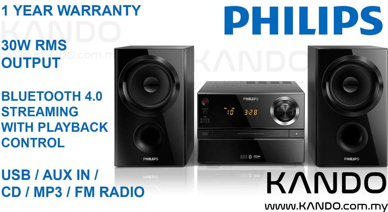 [MALAYSIA]Philips Micro Music System BTM1360/12 Bluetooth CD MP3-CD USB FM Alarm Sleep Timer LED Display Mini HiFi system Micro HiFi system Bluetooth Audio Bluetooth 4.0 Spotify Napster Tunein