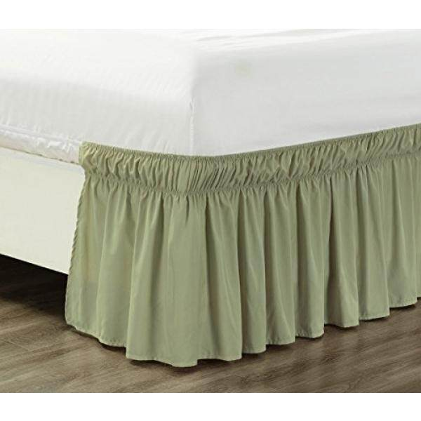 Wrap Around 17 Inch Fall White Ruffled Elastic Solid Bed Skirt Fits All Twin And Full