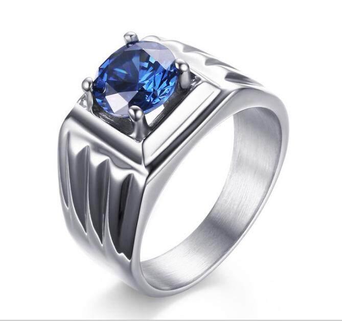 Mode Pria Perhiasan Anti Karat Biru Zirkon Lempar Tinggi Dipoles Cincin-Internasional