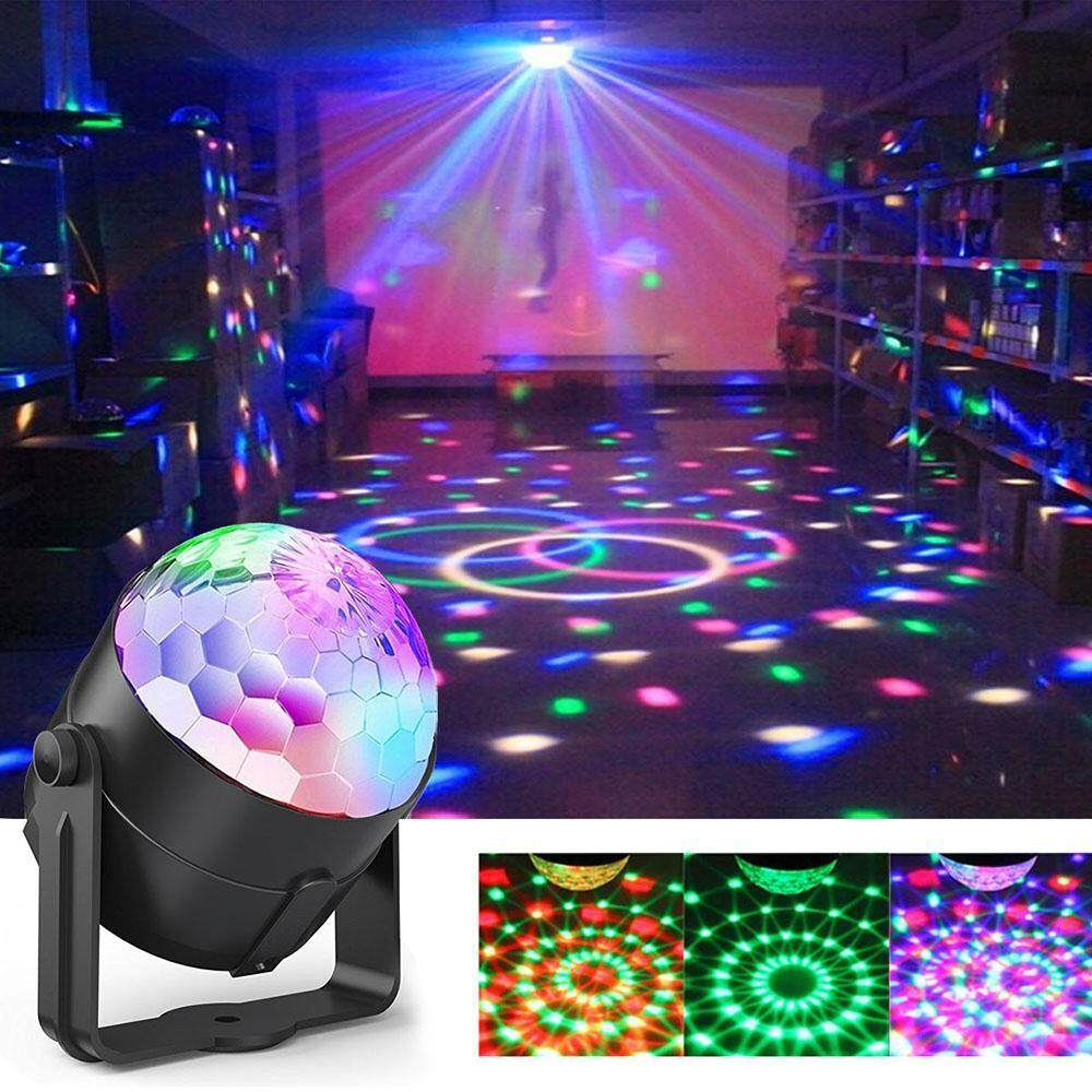 SOBUY (UK Pulg)Party Lights, Sound Activated Disco Lights Rotating Ball Lights 5W 7 Modes RGB LED Stage Lights With Remote Control For Home Outdoor Holidays Dance Parties Birthday DJ Bar Xmas Wedding Club Pub (UK Plug) - intl Singapore