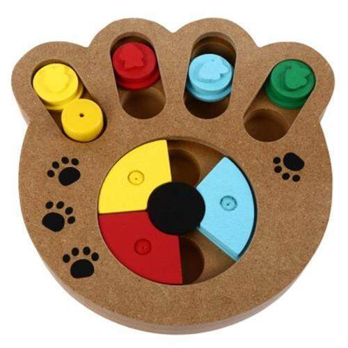 WOODEN PAW SHAPE PET TREAT FOOD HIDING PUZZLE IQ TRAINING INTERACTIVE EDUCATIONAL TOYS FOR DOGS CATS (COLORMIX)