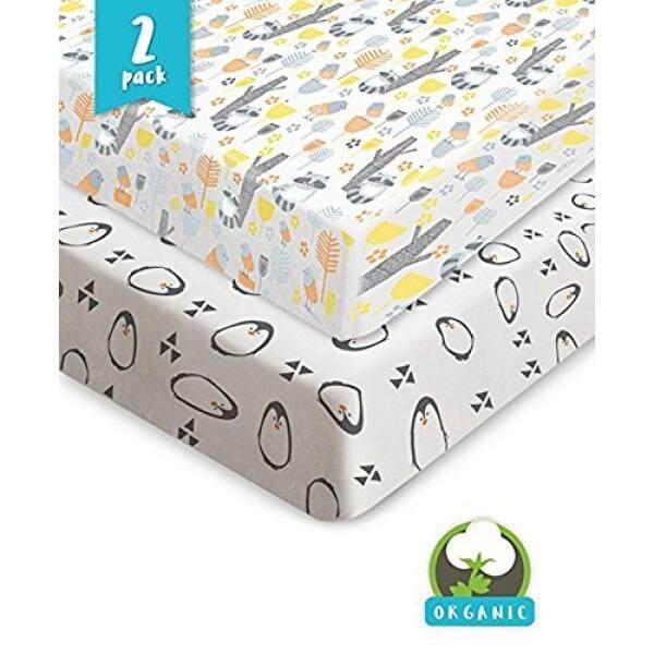 Bouncy Bayi Bungkus N Permainan Lembar 100% Kapas Jersey Organik Uniseks Dilengkapi Mini Crib Sheets Playpen dan Playard 2 Pack sheets Cocok dengan 3 dan 5 Inch Portabel Kasur Bayi Yang Sempurna Hadiah-Internasional