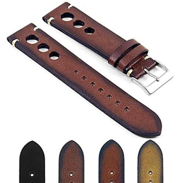DASSARI Maranello Extra Long Hand Finished Vintage Italian Leather Rally Watch Strap in Brown 24mm - intl
