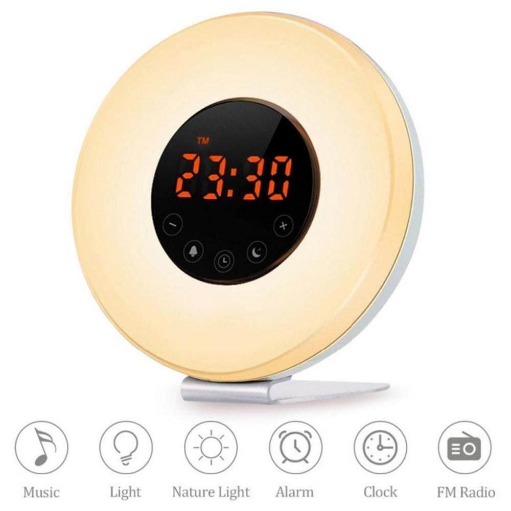 huiying (UK Plug)Sunrise Alarm Clock,Sunrise Simulator Wake Up Light, Snooze Function Sunlight Alarm Clock With LED Multi-Colorful Night Light FM Radio