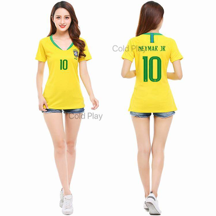 Lowest Price 2018 World Cup Brazil National Football Team Neymar Jr No 10 Home And Away Soccer Jersey Top For Women