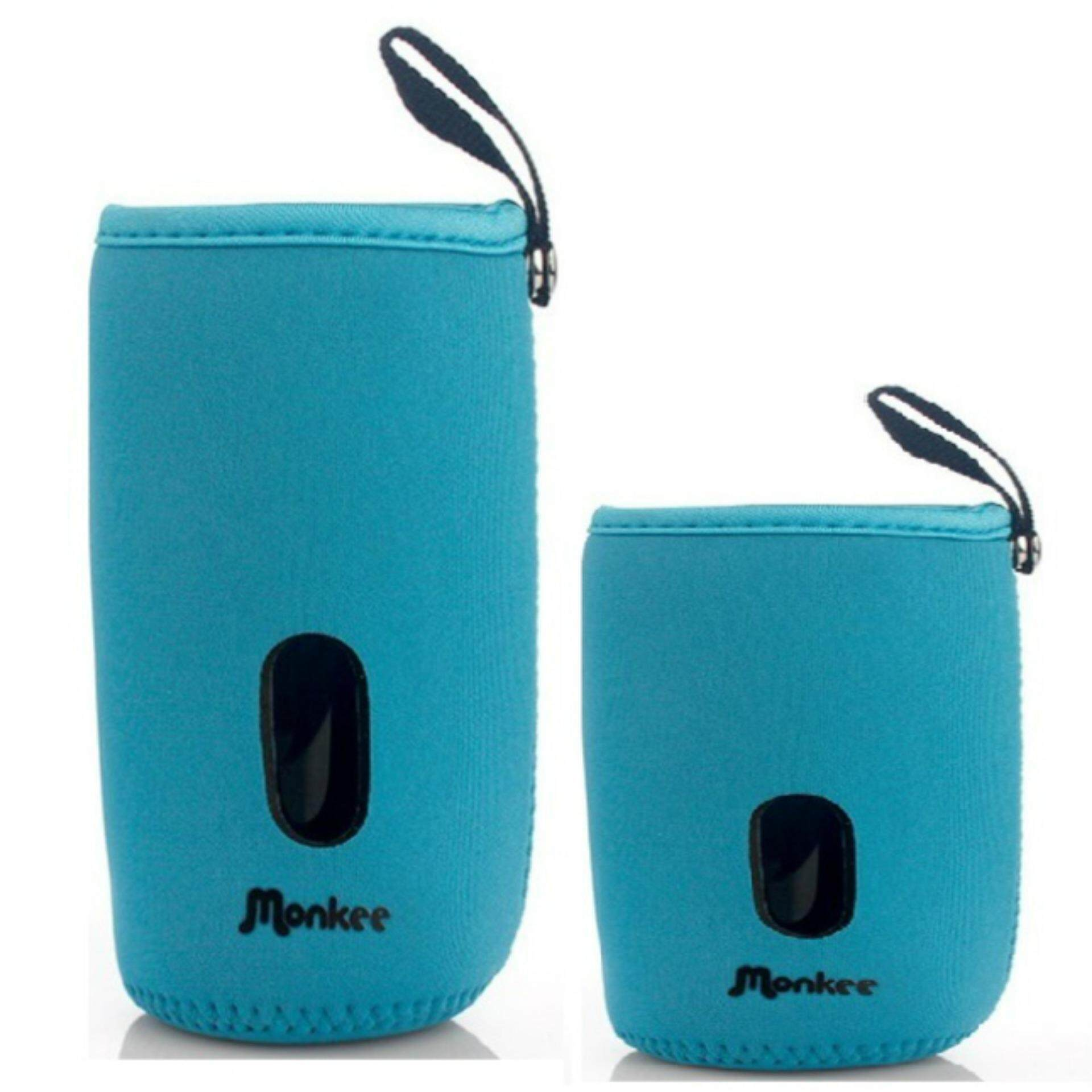 Set of 2 Baby Bottle Warmer Pouches: Fits 160ml and 240ml Bottles (1 Long, 1 Short) - Blue