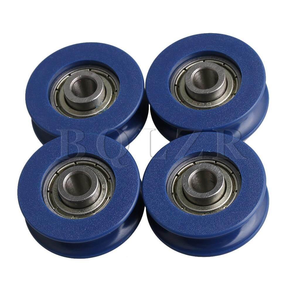 2.5.5x0.5x0.88cm U-Type Groove Guide Pulley Ball Bearing Wheel Set Of 4 Blue By Dsltd.
