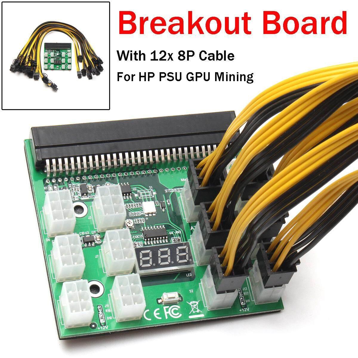 1200 W Breakout Babi Hutan W/Tombol untuk HP PSU GPU Pertambangan Ethereum + 12X8 P Kabel- internasional