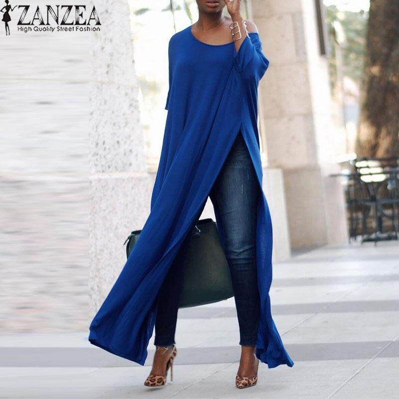 ZANZEA Three Quarter Sleeve Oblique Collar Split High Pullover Shirt Top Lady Autumn Solid Casual Party Club Fashion Blouse Blue