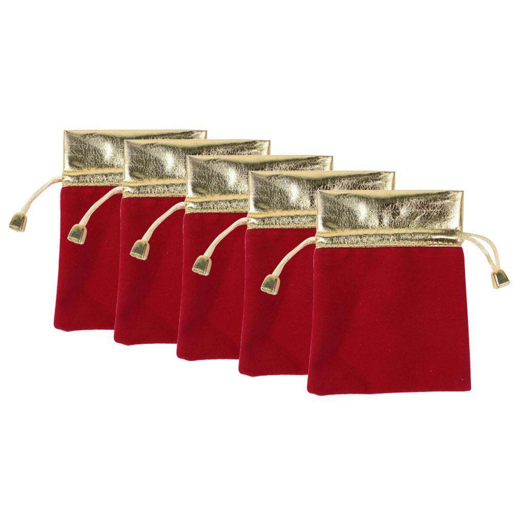 Powercreat Exquisite Velvet Small Drawstring Pouches Wedding Gift Bags Red And Gold 5 Pics
