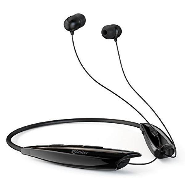 ALH Phaiser BHS-950 Headphone Bluetooth, Teleskopik Tali Leher Earbuds dengan Mikrofon, Nirkabel Sweatproof Di Telinga Earphone, portabel Cordless Stereo Headset, Blackout-Internasional