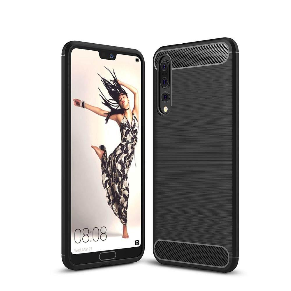 Case untuk Huawei P20 Pro Anti Guncangan Sampul Belakang Warna Polos Serat Karbon Lembut-Internasional