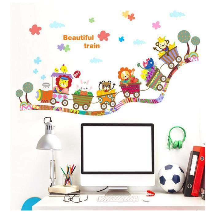 Anak-anak Dinding Stiker Kartun Binatang Kereta Decal Seni Yang Dapat Dilepas untuk Pembibitan Anak