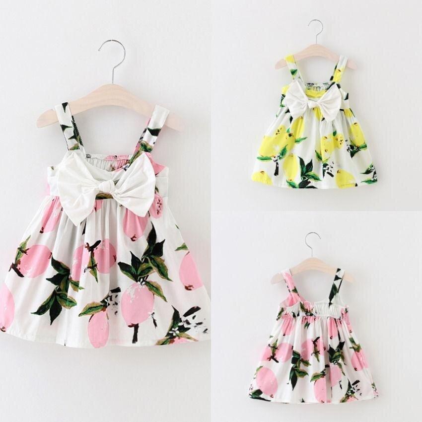 bfb47c6acc2 Pretty Baby Infant Girls Floral Bowknot Summer Lemon Dress Sundress Clothes  0-3T - intl