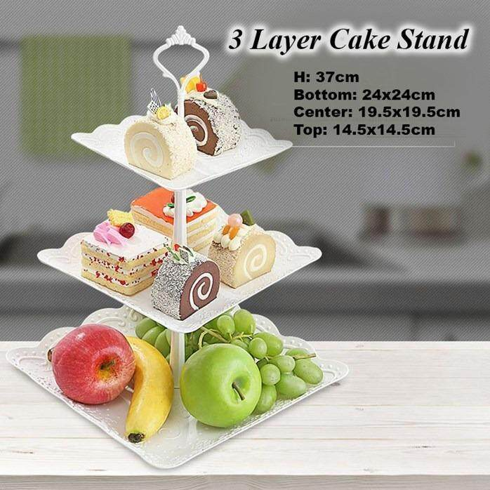 3 Layers Crown Cake Plate Stand Desserts Pastry Fruits Rack Holder Metal Handle Fitting Wedding Birthday Party