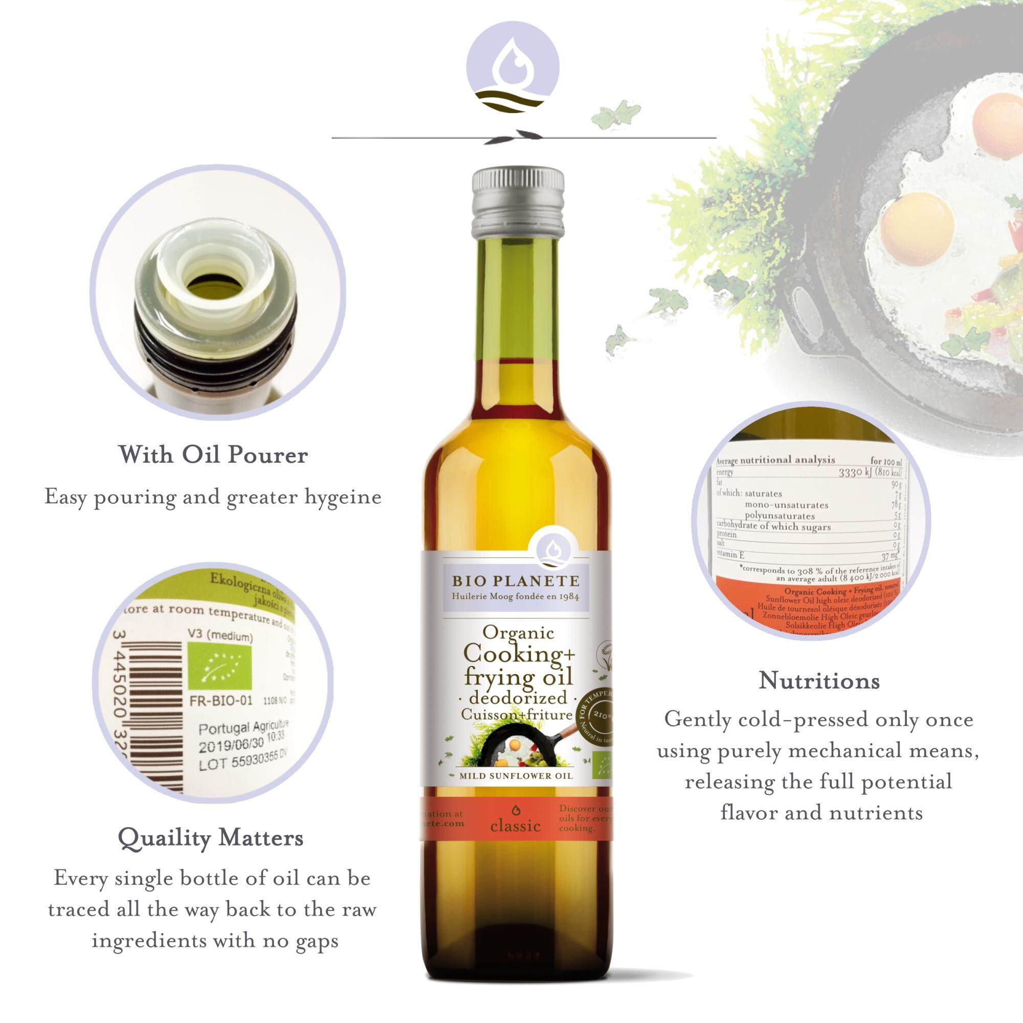 BIO PLANETE Organic Cooking Oil Sunflower Oil (500ml) - Frying and Cooking Origin from France - Bio Planete 有机热炒葵花油 (500毫升)