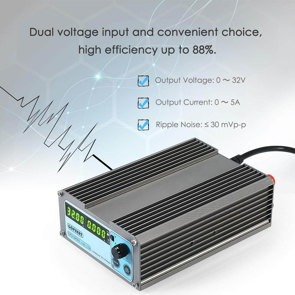 Features Wanptek Voltage Regulator Switching 4 Digits Blue Led 0 30v0 2a Adjustable And Current Portable Regulated Power Supply Cps 3205 Ii 160w 32v