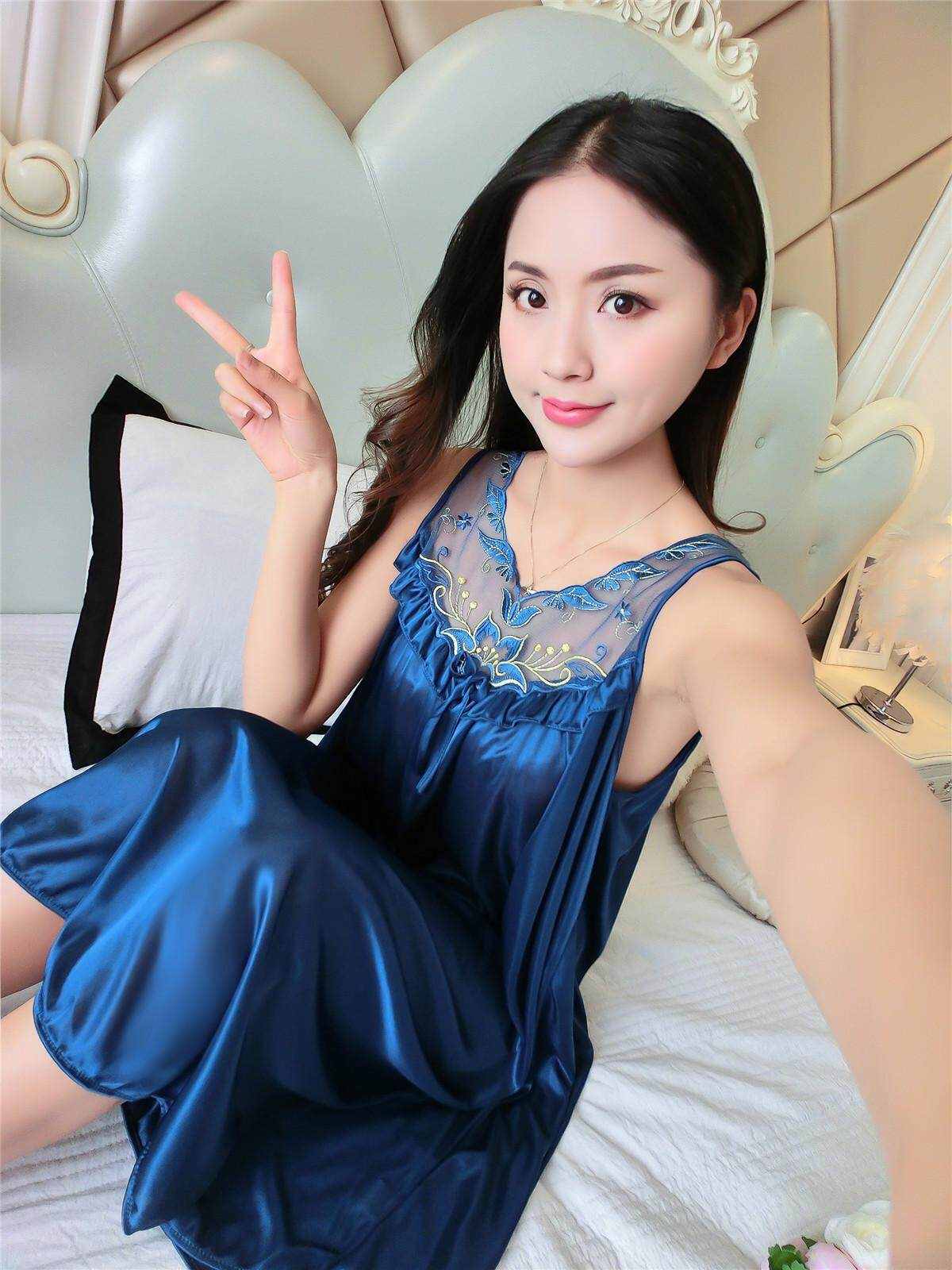 Bolster Store Ladies Women Sexy lingerie Sleepwear Short Sleeve Bow Ribbon Lace Pajamas Long Dress Silk Comfortable Night Wear Pyjamas