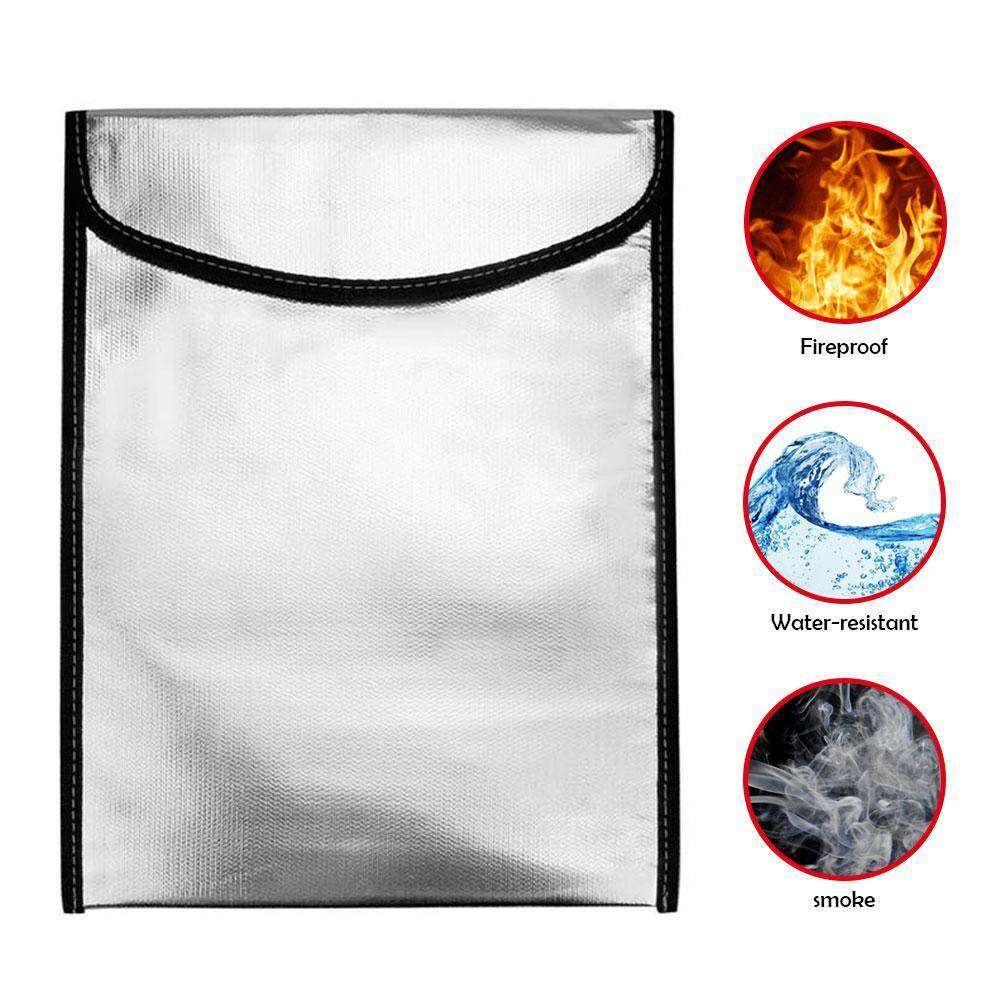 coobonf Fireproof Bag, Fireproof Waterproof Pouch For Document Cash Money Passport Bank File And Valuables - Two Sided Aluminum Foil Coated