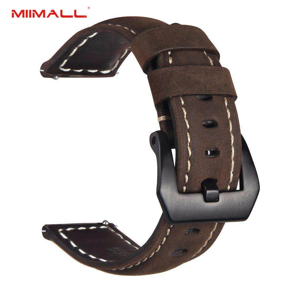 Miimall Gear Sport/ Gear S2 Classic Watch Band, 20mm Premium Vintage Crazy Horse Genuine Leather Strap Replacement Bracelet for Samsung Gear Sport SM-R600 Fitness Watch