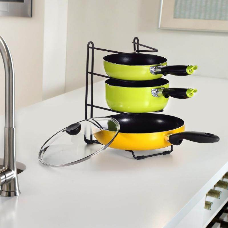 Price Compare Kitchen Wrought Iron Pot Rack Dish Rack Lid Rack Kitchenware Storage Rack Intl