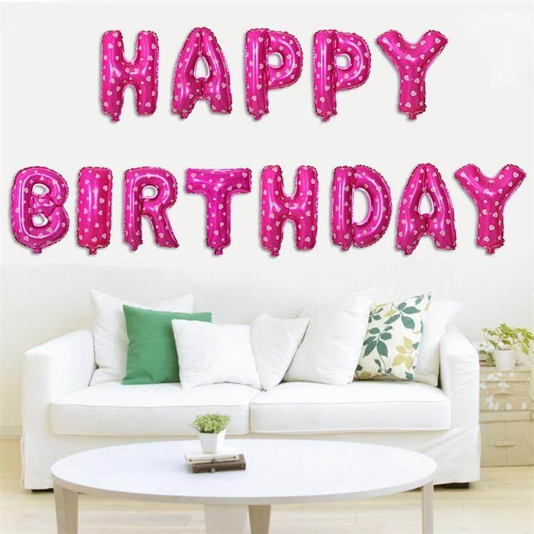 Happy Birthday Words Party Balloon Party Celebration Belon Set Hari Jadi  toys for girls