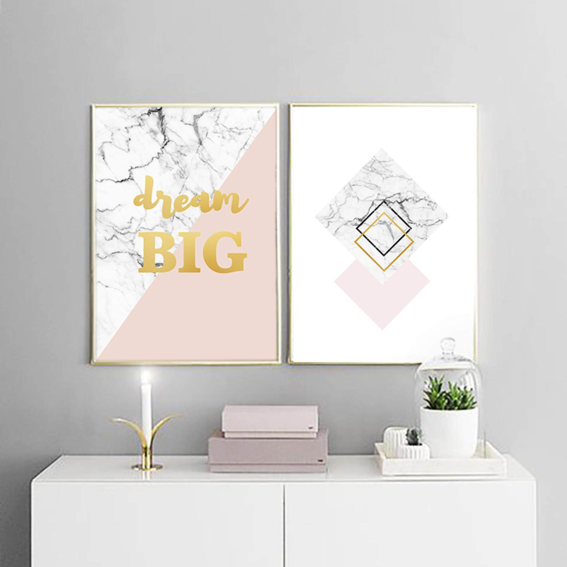 2 Pieces 30X42cm Unframed Marble Pattern Art Print Painting Poster - intl