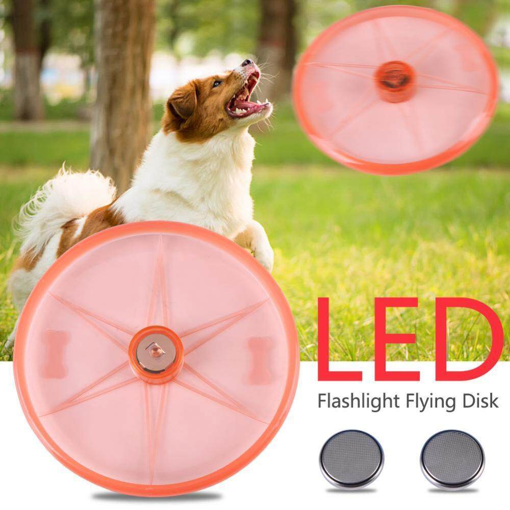 3 Colors Pet Flashlight Flying Disk Funny Flying LED Disk Light Up Outdoor Toys Pet Red