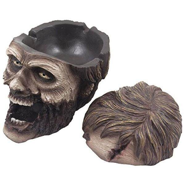 Evil Undead Zombie Head Ashtray Statue with Cover for Spooky Graveyard Halloween Party Decorations and Decorative Medieval & Gothic Decor Sculptures As Whimsical Novelty Gifts by Home-n-Gifts - intl
