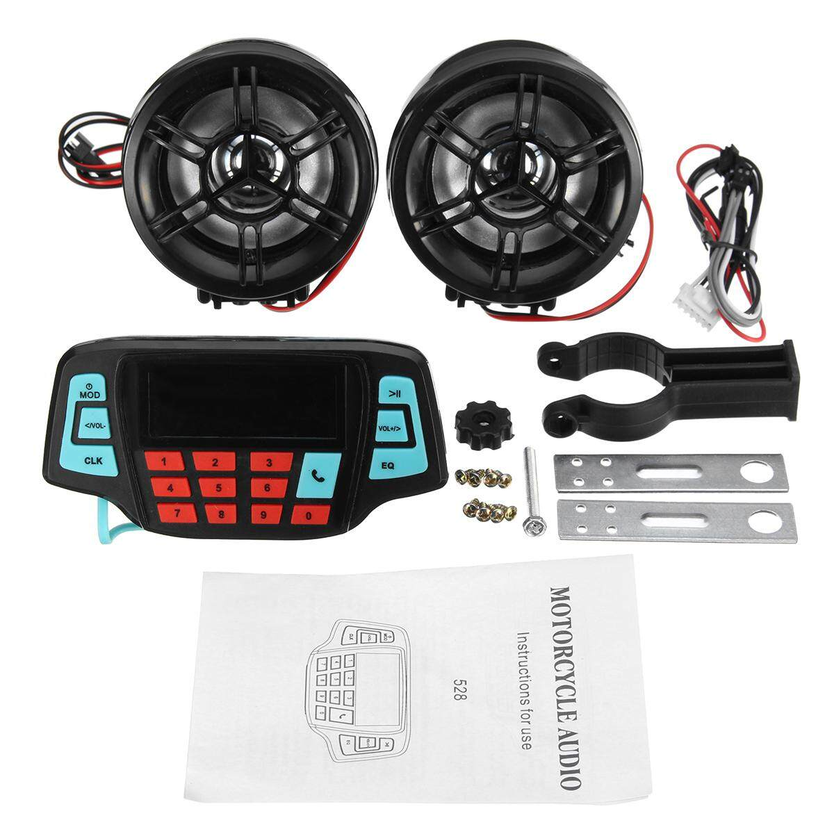 Motorcycle Speakers For Sale Audio Online Brands Outdoor Wiring Bluetooth Call Speaker Stereo With Lcd Screen Black Intl