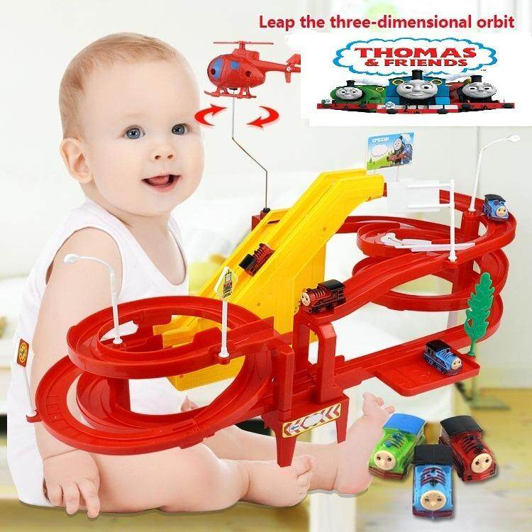 Feo Toy Thomas Train Track Set Toy Puzzle Track Car Electronic Automatic Double Track & Jump By Feo.