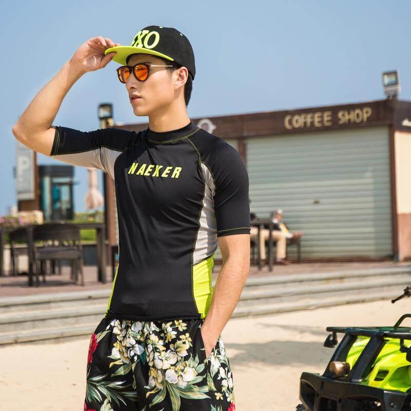 Naeker Wetsuits UV Matahari Perlindungan Kulit Dasar Pria Swimsuits Semua Waktu Lengan Pendek Kru Matahari Kaus Rash Menjaga- internasional