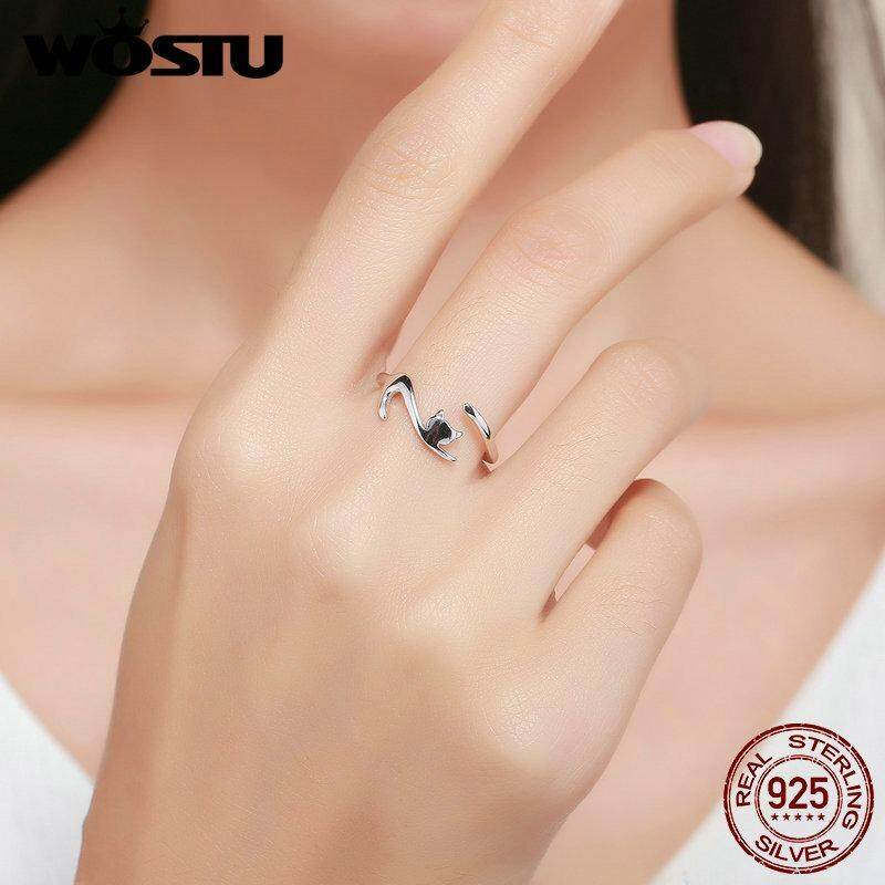 ... Wostu 100% 925 Sterling Perak Sticky Kucing dengan Panjang Ekor Jari Cincin untuk Wanita Dapat