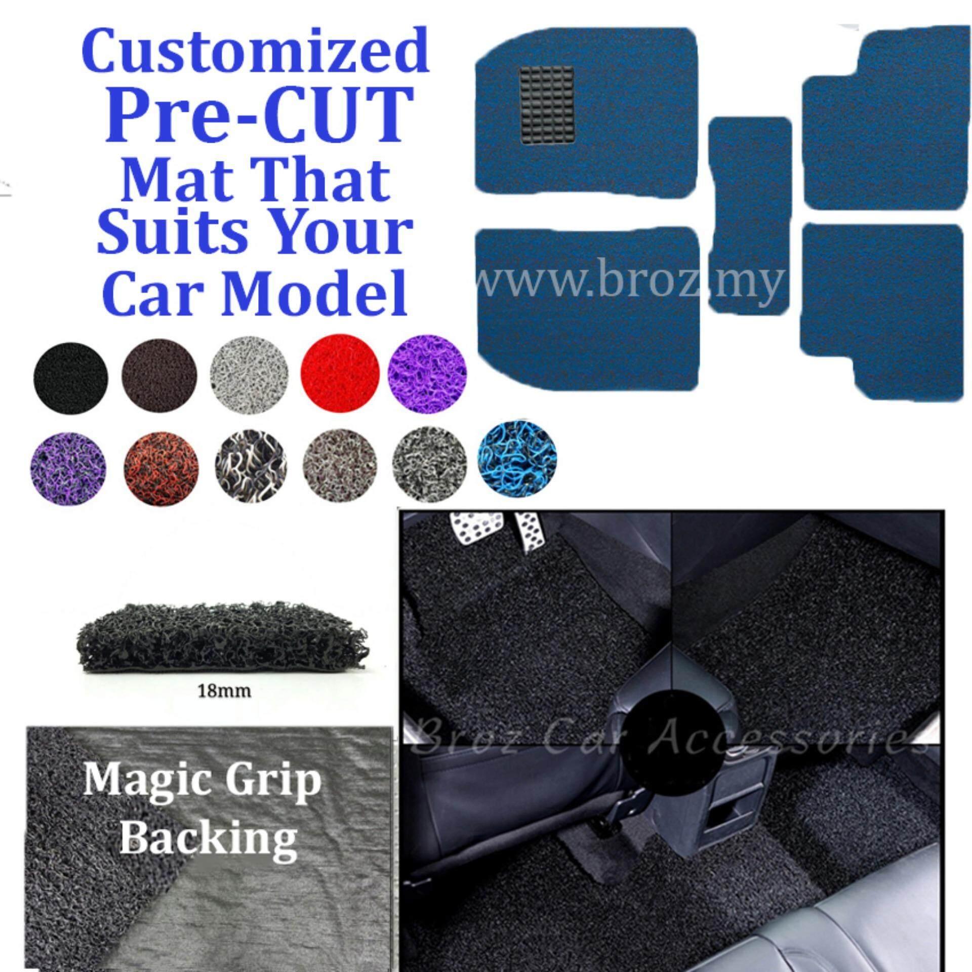 Broz Mercedes E-200 18MM Customized PRE CUT PVC Coil Floor Mat Anti Slip Carpet Magic Grip Backing - Blue Black