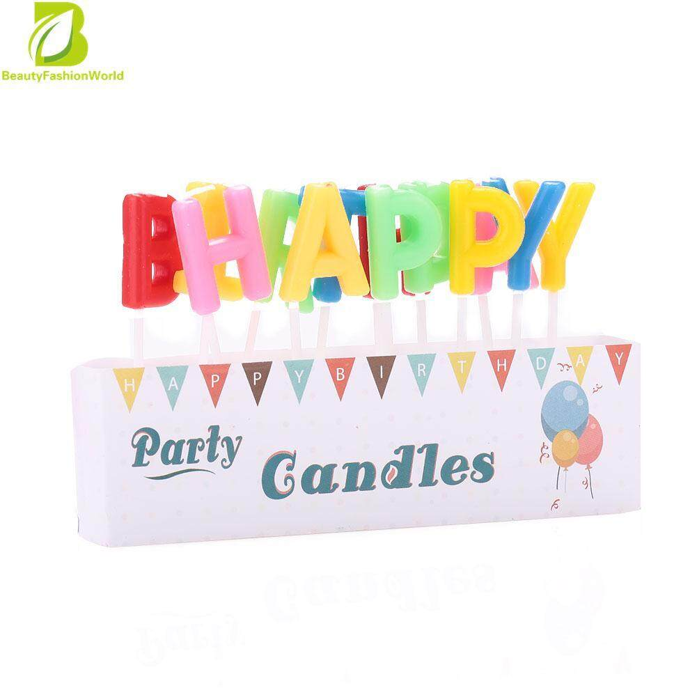 Popular HAPPY BIRTHDAY Letter Candle Birthday Cake Topper Decor Baking Supplies