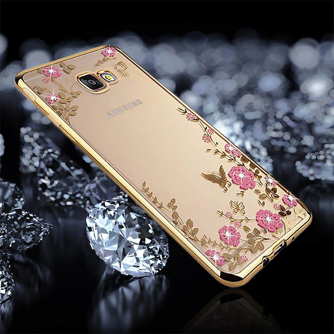 Features For Samsung Galaxy C9 Pro C900 Living Group Pattern J5 Prime Flowers Diamond Encrusted Electroplating Soft Tpu Protective Cover Case