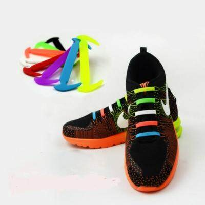 Fashionable Sickle Style Without Necktie Elastic Silica Gel Shoelace for Men and Women (BLACK)
