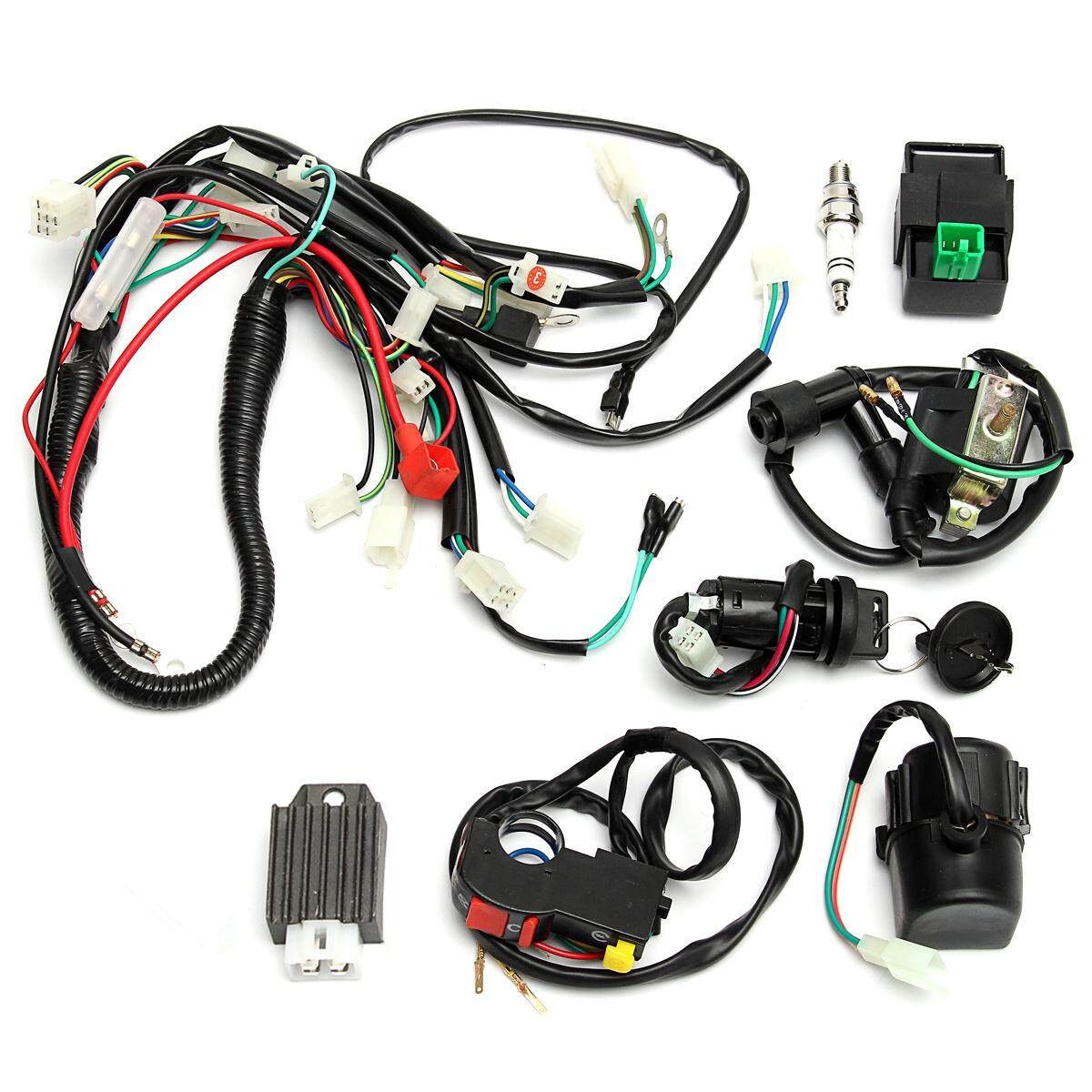 Automotive Wiring For Sale Harness Online Brands 2002 Honda Cr V Wire Full Loom Start Switch Kit Pit Bike Atv 4 Go Kart 50 110cc 125cc