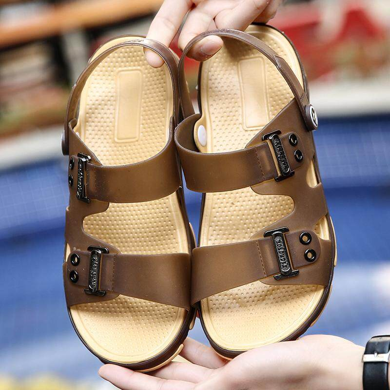 Summer Men Beach Shoes Hole Slippers Sandals Non-slip (Brown) - intl