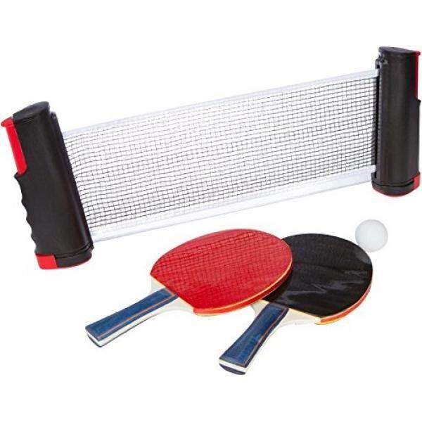 Almm Inovasi Merek Dagang Tenis Meja Tenis Portabel dengan 2 Tambahan Kokoh Dayung dan Bola, Merah, Kecil-Internasional